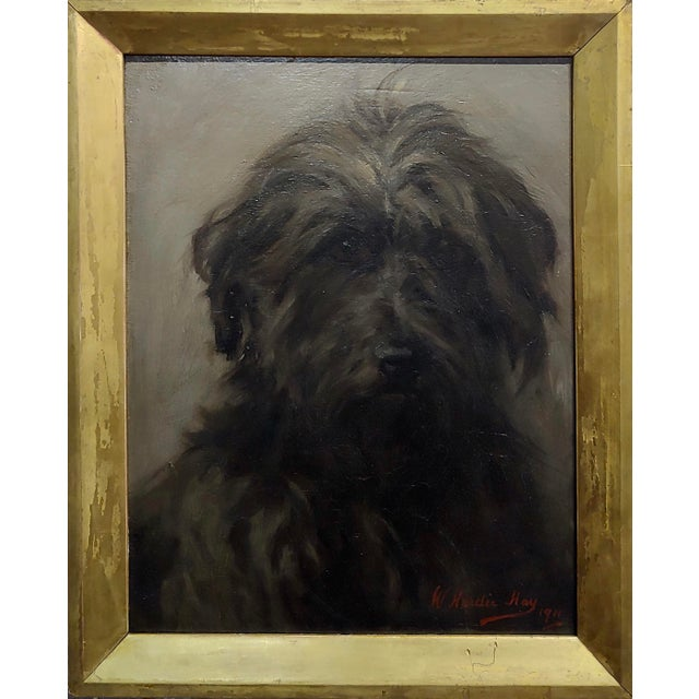 William Hardie Hay -Portrait of a beautiful Black Terrier Dog -oil painting c.1911 oil painting on canvas -Signed & dated...