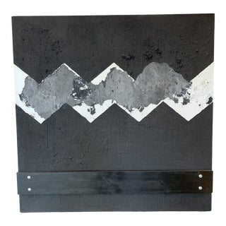 """""""Zig Zag Metropolis"""" Contemporary Minimalist Abstract Mixed-Media Painting For Sale"""