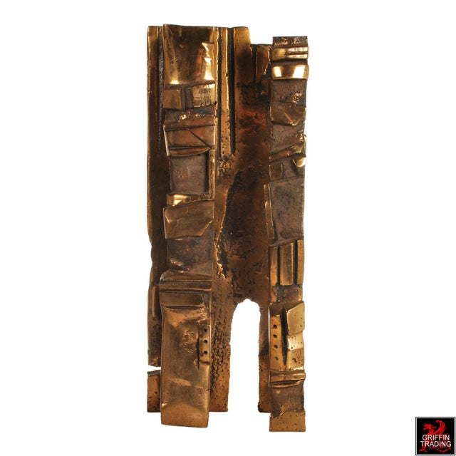 Abstract Bronze Brutalist Abstract Sculpture For Sale - Image 3 of 13
