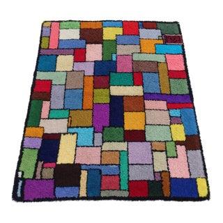 1980s Geometric Post Modern Folk Art Hook Rug, Mondrian Themed For Sale