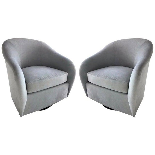 Pair of Mid-Century Modern Swivel Lounge Chairs in Grey Velvet, Circa 1970s For Sale - Image 13 of 13
