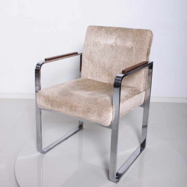 1970s Mid Century Modern Milo Baughman for Thayer Coggin Chrome Dining Chairs-Set of 4 For Sale - Image 5 of 11