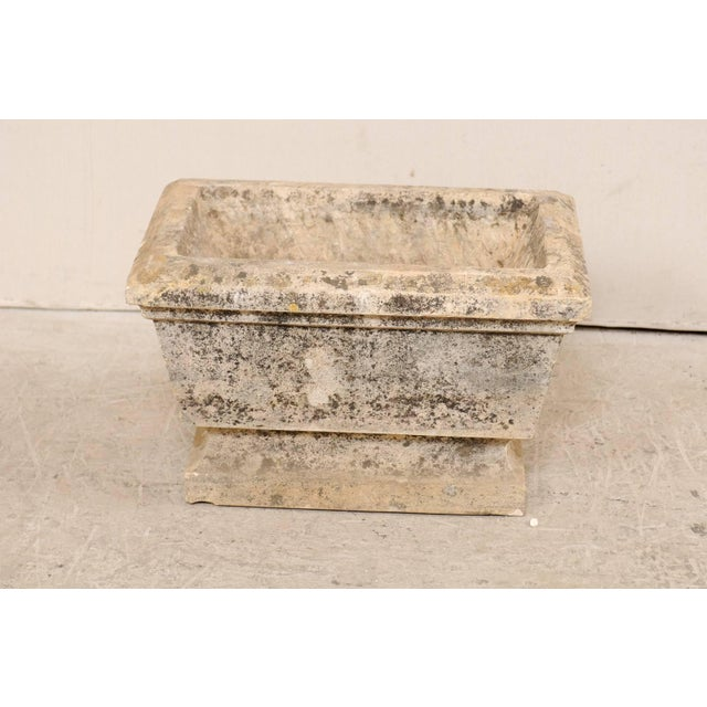 European Hand-Carved Rectangular Stone Planter With Chamfered Edges For Sale - Image 4 of 7