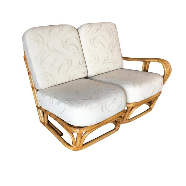"""Rare Paul Frankl square pretzel """"S"""" arm rattan 2 seater sectional sofa with large 2 tier side table apart of the sofa...."""