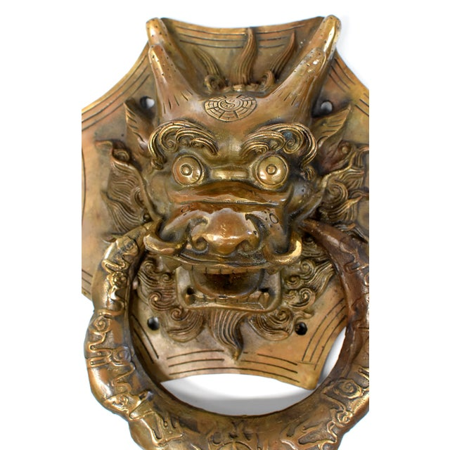 Asian Vintage Medium Asian Dragon Door Knockers- a Pair For Sale - Image 3 of 13