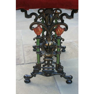 Antique English Foot Stool Bench Vanity Stool Cast Iron Red Upholstery Art Nouveau C. 1900 Preview