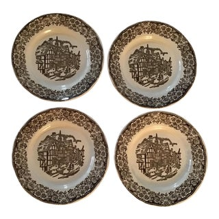 Vintage Tudor Village Side Plates by Broadhurst Ironstone Staffordshire England - Set of 4 For Sale
