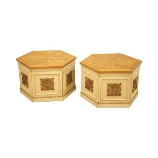 Florentine Style Vintage Pair Burl Wood, Partial Gilt & Painted Storage End Tables by Lane For Sale