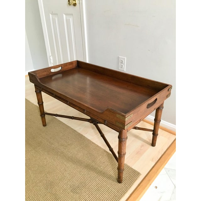 Traditional 1970s Vintage Faux Bamboo Campaign Style Tray Table For Sale - Image 3 of 7