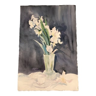 Original Vintage Still Life Watercolor Painting With Irises For Sale