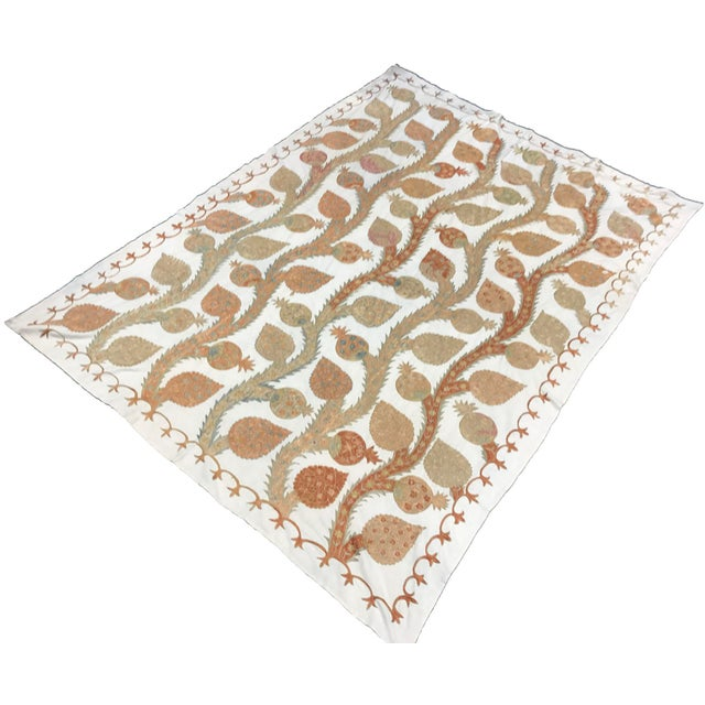 Silk Suzani Pastel Bedspread - Image 3 of 4
