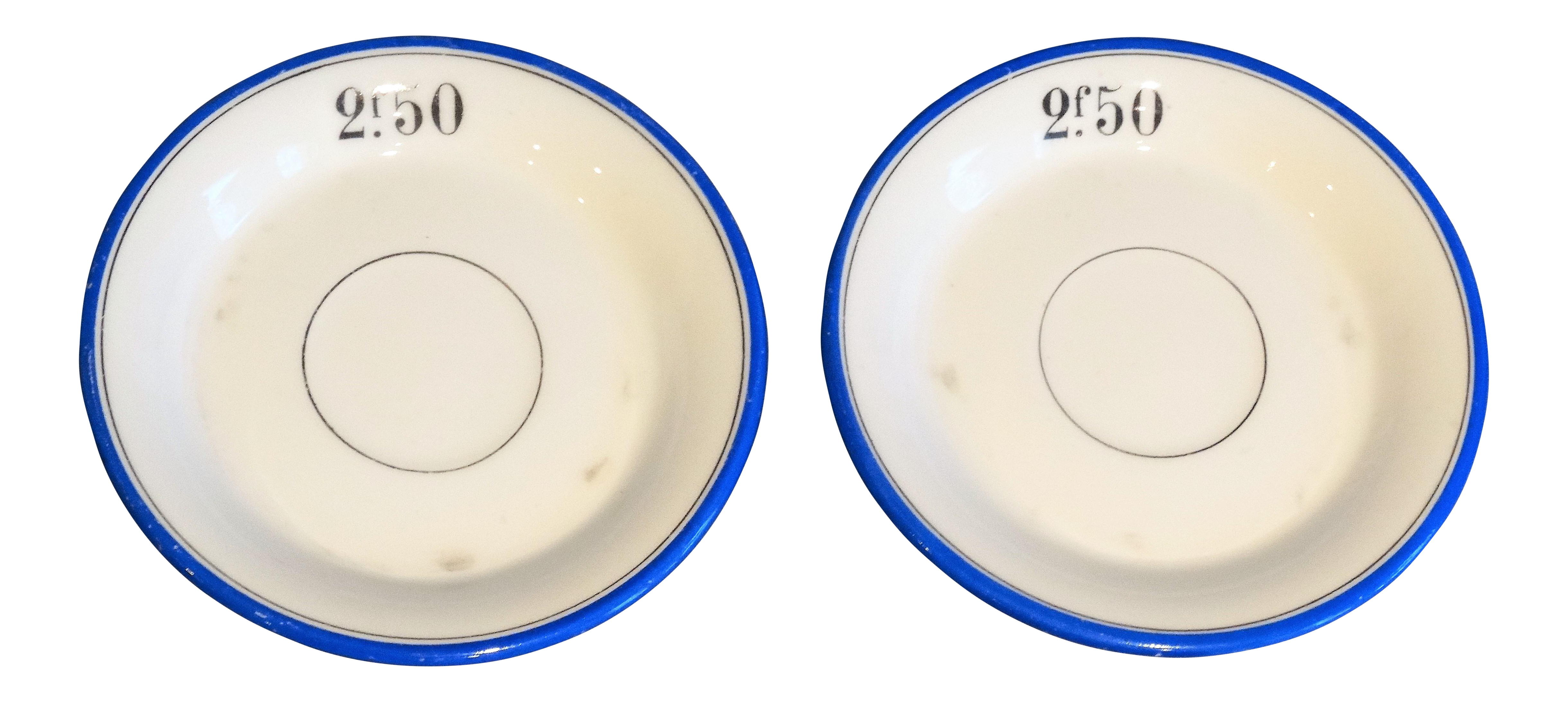 French Franc Bistro Cafe Tab Plates - A Pair  sc 1 st  Chairish & French Franc Bistro Cafe Tab Plates - A Pair | Chairish