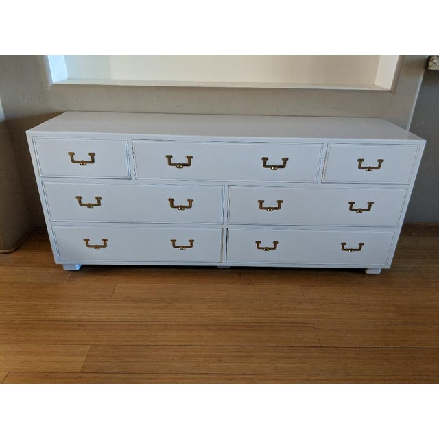 1960s Campaign Henredon High Gloss White Dresser Credenza Buffet For Sale - Image 12 of 12