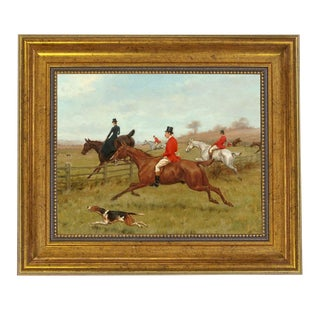 Traditional The Chase Horse Fox Hunting Framed Oil Painting Print on Canvas For Sale
