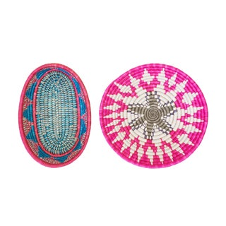 Handwoven Rwandan Multicolor Sweetgrass Coil Baskets - a Pair