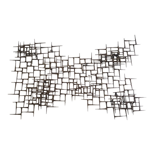 Abstract Metal Bronze & Mason Nails Wall Sculpture For Sale