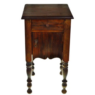 Early Wood Smoking Stand With Turned Legs