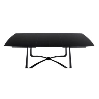 Black Lacquer Mid-Century Modern X-Base Dining Table with Two Leaves For Sale