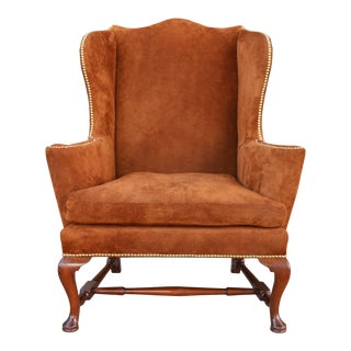 1980s Vintage Suede Wingback Chair For Sale