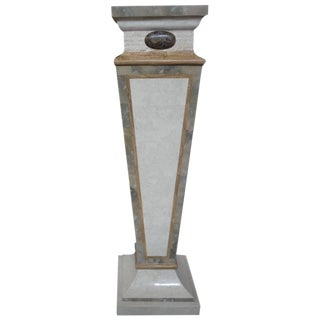 1970s Art Deco Tessellated Travertine and Marble Geometric Pedestal For Sale