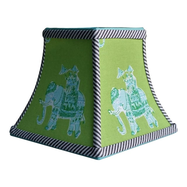 Green Lilly Pulitzer Fabric Clip on Coastal Elephant Lampshade For Sale