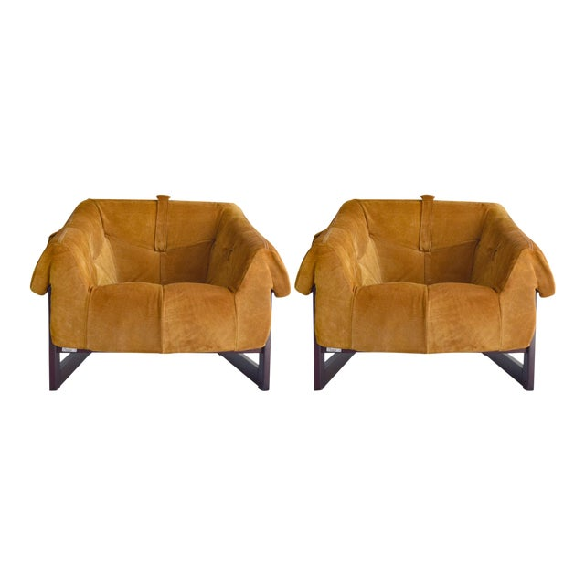Percival Lafer Brazilian Rosewood & Suede Lounge Chairs - A Pair For Sale