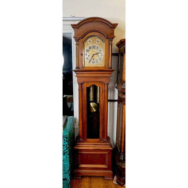 """Brown Antique Waterbury Grandfather Clock - """"801 Hall Chime Clock"""" Model For Sale - Image 8 of 13"""