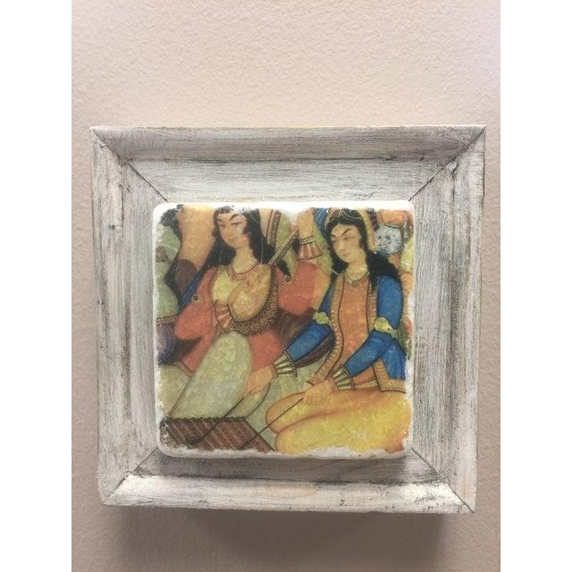Handmade Framed Ottoman Musician Women Print For Sale - Image 5 of 6