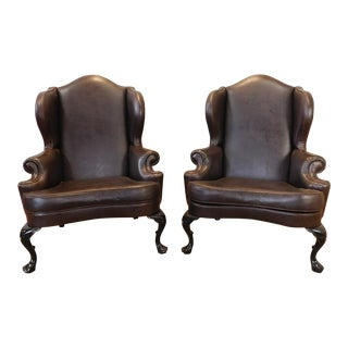 1990s Brown Vinyl English Wing Back Smokers Room Armchairs - a Pair
