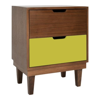 Kabano Modern Kids 2-Drawer Nightstand in Walnut With Green Finish For Sale