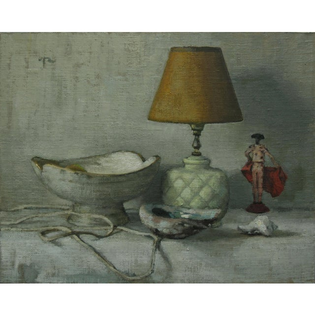 """Rubino Oil Painting """"Pineapple Lamp"""", Contemporary Gray Still Life For Sale In West Palm - Image 6 of 6"""