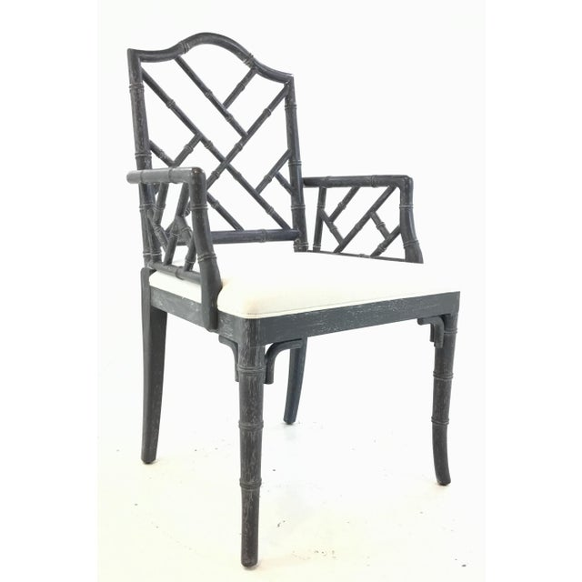 Wood Worlds Away Modern Chippendale Style Gray Arm Chair For Sale - Image 7 of 7