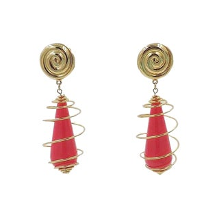 1990s Trifari Pink Spiral Earrings For Sale