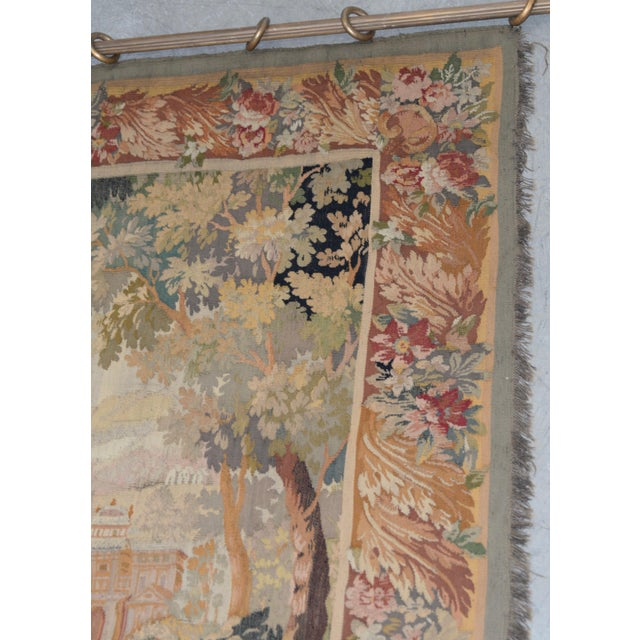 Traditional Fine Antique European Tapestry Depicting a Country Scene With Dogs For Sale - Image 3 of 13