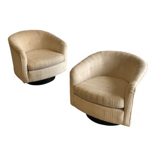 Milo Baughman Style Swivel Chairs - a Pair For Sale