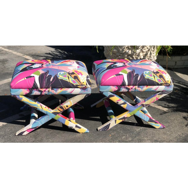 2010s Diane Von Furstenberg Post Modern Butterfly Explosion X Benches - a Pair For Sale - Image 5 of 5