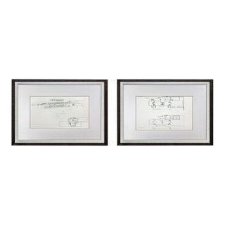 (2) Frank Lloyd Wright Lithograph #'ed Limited ~ Robie House Drawings (2pc Set) With Frames Included For Sale