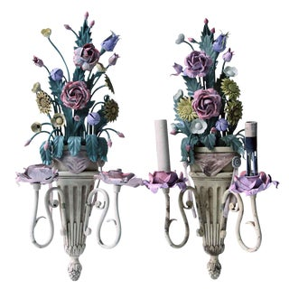 Vintage Mid-Century Italian Floral Metal Sconces - A Pair For Sale