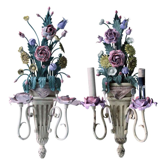 Vintage Mid-Century Italian Floral Metal Sconces - A Pair For Sale