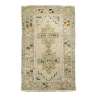 *Naqshi 4x6 Antique Soft Colors Turkish Oushak Style Vintage Area Rug For Sale