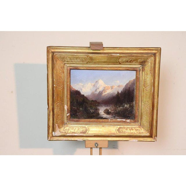 Cardboard Italian Oil Painting Mountain Landscape With Golden Frame For Sale - Image 7 of 13