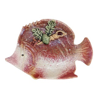 20th Century Cottage Red Majolica Fish Platter For Sale