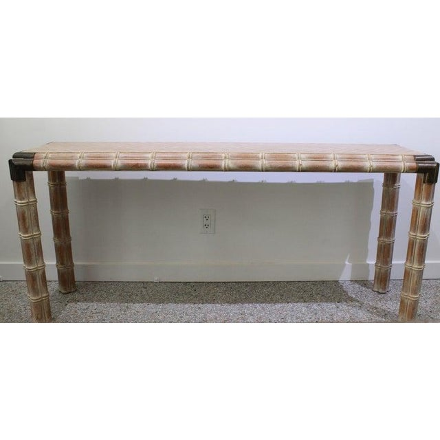 Vintage Console Table Faux Bamboo With Antique Brass Mounts For Sale - Image 4 of 13