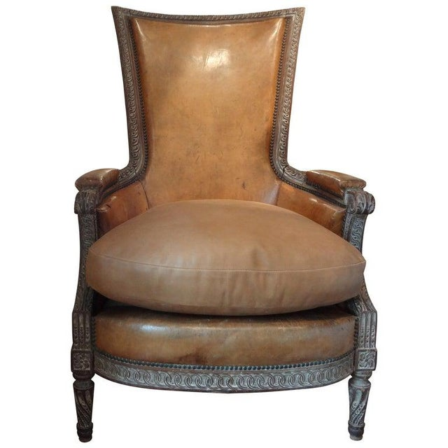 Antique French Louis XVI Style Bergere With Distressed Leather Upholstery For Sale - Image 12 of 13
