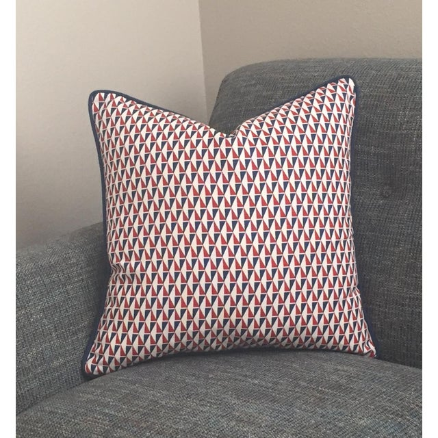 Mid-Century Modern Schumacher Mid-Century Modern Frank Lloyd Wright Designer Pillow Cover With Navy Piping - 20x20 For Sale - Image 3 of 6