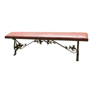 1970's Vintage Light Brown Leather Fireplace Bench For Sale
