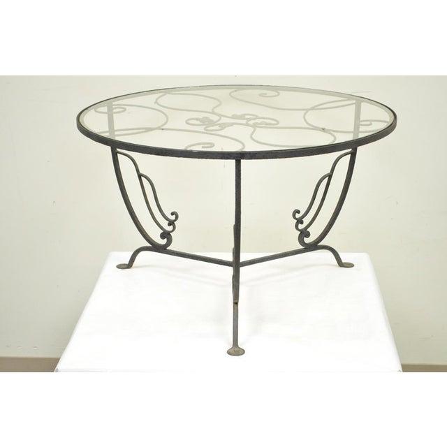 Vintage Salterini Wrought Iron Art Nouveau Deco Patio Garden Round Coffee Table For Sale - Image 9 of 10
