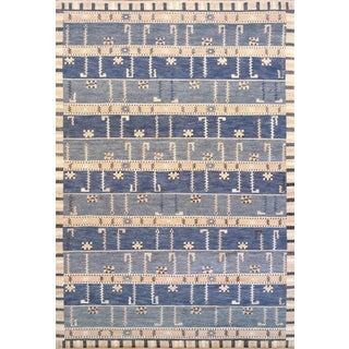 Hand-Woven Swedish Style Wool Rug For Sale