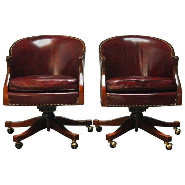 Baker Leather Barrel Back Office Chairs - A Pair - Image 1 of 6