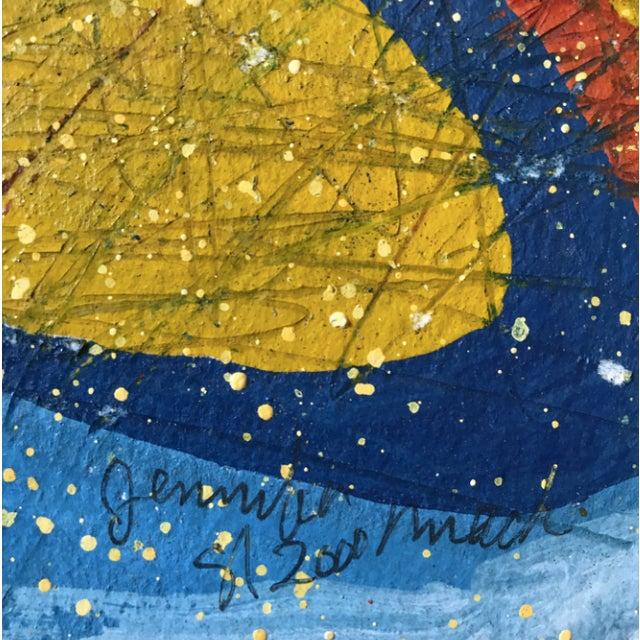 "Jennifer Mack Abstract Splatter 2000 Acrylic on paper 14""x20"" Signed in ink lower center Jennifer Wallace Mack held a..."